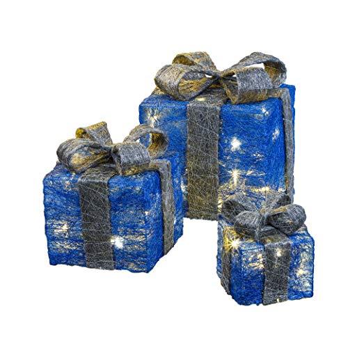 Bambelaa! Juego de 3 cajas de luces led decorativas en forma de regalos con temporizador, decoración navideña