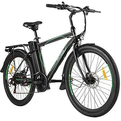 "ANCHEER 26"" E-Bike Elektrofahrrad mit Abnehmbarer 10Ah Akku, 6-Gang-Getriebe Stadtfahrrad Pedelec für Erwachsene (Stadtritter)"
