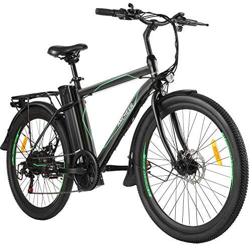 ANCHEER Bici Elettriche da 26' con Batteria Rimovibile 10AH, Bicicletta elettrica da Città 6 Marce per Adulti (Cavaliere-Linea Verde)