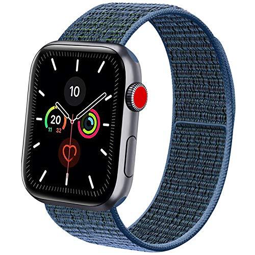 Vancle コンパチブル Apple Watch バンド 38mm 40mm 42mm 44mm ナイロンスポーツループバンド iWatch Series 5/4/3/2/1に対応 (38mm/40mm, ブルーグリーン)