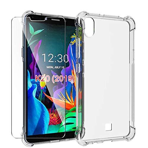 HYMY Hülle für LG K20 2019 Smartphone + 1 x Schutzfolie Panzerglas -Transparent Erdbebenresistenz Schutzhülle TPU Handytasche Tasche Verstärkung an Vier Ecken Case für LG K20 2019 (5.45
