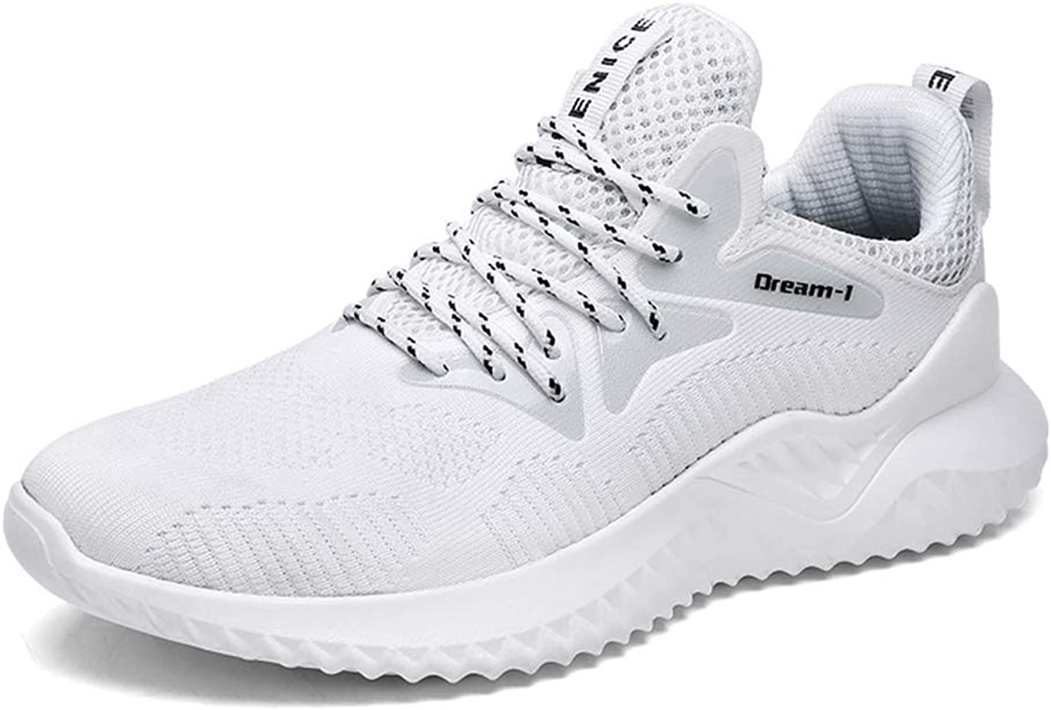 ZHRUI Men shoes Fashion Casual Comfortable Leisure Breathable Footwear Running Sneakers (color   1810white, Size   7.5 UK)