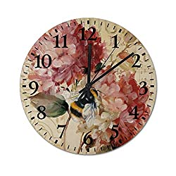 TattyaKoushi Fashion Wooden Wall Clocks Home Decor Retro Floral Pattern Silent & Non-Ticking Rustic Country for Living Room,Bedroom,Kitchen Round 12x12 Inch
