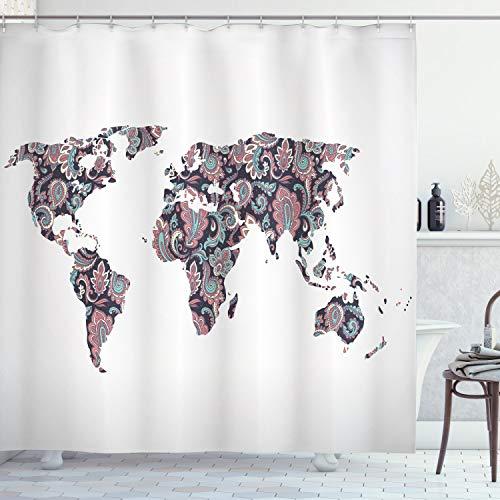 ABAKUHAUS Floral Weltkarte Duschvorhang, Paisley-Blätter, Digital auf Stoff Bedruckt inkl.12 Haken Farbfest Wasser Bakterie Resistent, 175 x 220 cm, Pflaumen Korallen Türkis