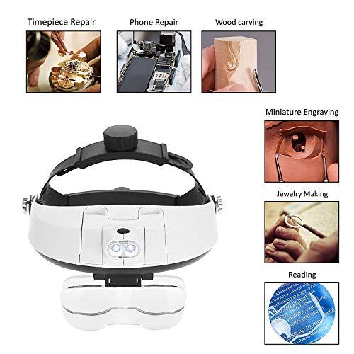 Lupenbrille Led Licht Hände Frei Kopfbandlupe Brillenlupe Mit Beleuchtung (2 LED)+5 Linsen 1,0X 1,5X 2,0X 2,5X 3,0X Vergrößerungsfaktoren
