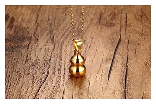 chenyou Collar con colgante de acero inoxidable de calidad para hombre, con colgante de perfume de moda, color dorado, de titanio y calabaza, color dorado
