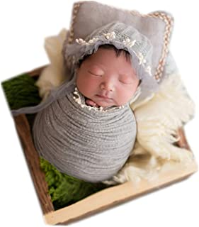 Newborn Infant Baby Photography Props Boys Girls Hat Blanket Wrap with Posing Aid Pad Photo Shoot Set