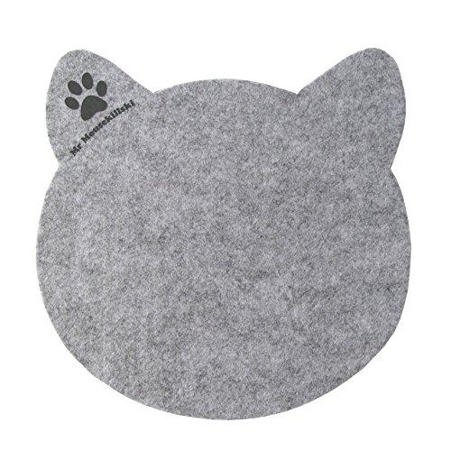 MR MOUSEKILLSKI - stylisches Mousepad aus hochwertigem Filz | perfekt für Katzenliebhaber | vielfältig einsetzbar als originelle Unterlage| hervorragende Anti-Rutsch-Beschichtung | grau-meliert