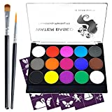 Face Paint Kit for Kids Adults, 15 Colors Professional Body Face Painting kit Halloween Makeup Cosplay Facepaint Oil with 4 Metallic, 2 Brushes