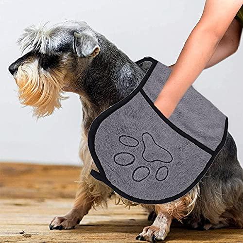 Toalla de ducha para perros, toalla de baño de microfibra suave ultra absorbente para mascotas, toalla de baño para perros con 2 bolsillos para gatos y perros