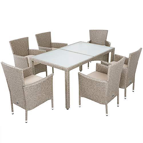 Deuba | Salon de Jardin en polyrotin Gris/Beige • 1 Table et 6 chaises avec Coussins - chaises empilables, Plateau Verre | Résistant aux intempéries, Set Table et chaises, mobilier de Jardin