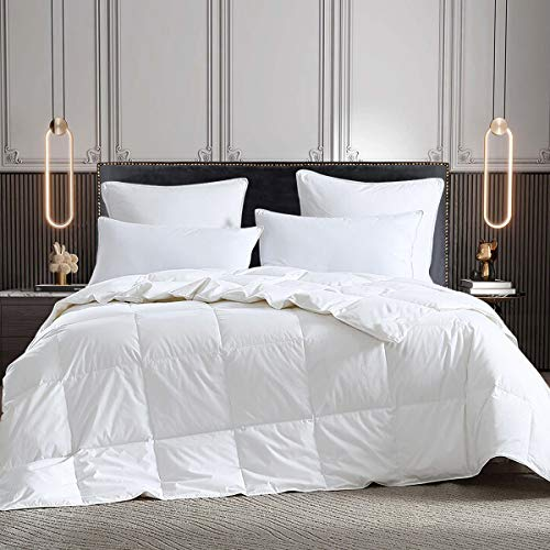 All Seasons Lightweight Goose Down Comforter Queen Size Hypo-allergenic Duvet Insert 100% Cotton Shell 600 Thread Count 600 Fill Power with 8 Corner Tabs