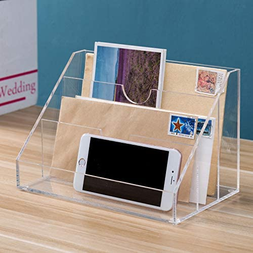 MyGift 3 Slot Clear Acrylic Tabletop Mail Sorter Desktop Organizer product image