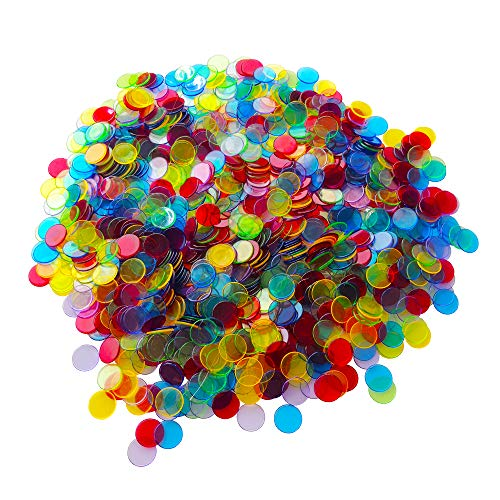 YH Poker Yuanhe 1000 Pieces 3/4 inch Transparent Bingo Chips Mixed Color