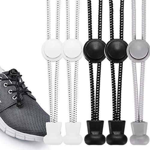 O³ Schnürsenkel Schnellschnürsystem // 5 Paar // Shoe Laces für Kinder und Erwachsene – anpassbare Länge // Elastische Schuhbänder mit Schnellverschluss schwarz weiß grau