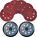 2 Pieces 5 Inch 8 Hole Hook and Loop Orbital Sander Pads Replaces, 30 Pieces Sanding Discs Sandpaper 40 80 120 180 240 320 Grits Compatible with DeWalt, Makita and Porter Cable (Bluish-Black and Red)
