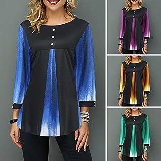 Extaum Women Blouse Splice Color Block Round Neck Long Sleeve Loose Button Asymmetry Hem T-shirt Tee Tops