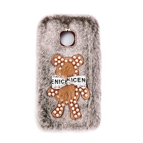 YHY Funda Teléfono Pearl Bear Plush para Motorola Moto Z Force Droid Carcasa De Felpa De Silicona Suave y Elegante La Piel Marrón