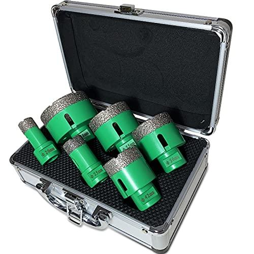 BotaBay Juego de brocas de diamante (6 piezas, 20, 25, 42, 50, 55, 68 mm, con maletín, revestimiento de diamante de 15 mm, para granito, gres porcelánico, azulejos, M14, brocas de diamante en seco