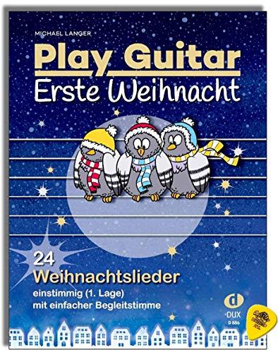 Play Guitar - Figura de Navidad (24 canciones de Navidad, unánimemente) con voz simple, Autor Michael Langer, libro de partituras con Dunlop Plek.