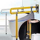 RANZIX klappbare WC & Toiletten Aufstehhilfe – Stützgriff Sicherheits Haltegriff Stützklappgriff behindertengerecht Toiletten Stütz-Haltegriff hochklappbar robust & solide verarbeitet (Gelb, 750Mm) - 6