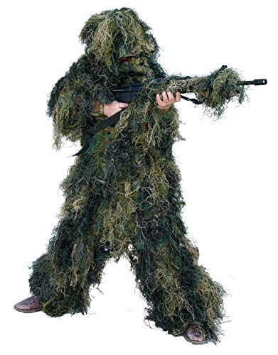 Red Rock Outdoor Gear Men's Youth Ghillie Suit, Woodland Camouflage, 10-12