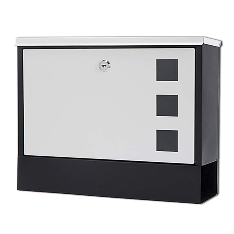 HUA BEI メールボックス 郵便受け - 鍛鉄、屋外壁掛け、戸建て、戸建、戸建て、戸別 - 36X10X30cm @@ (色 : White door black box)