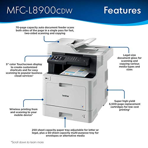Brother Printer MFCL8900CDW Business Color Laser All-in-One with Advanced Duplex and Wireless Networking, Amazon Dash Replenishment Enabled