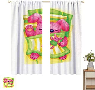 Mozenou Cartoon Drapes/Draperies Cute Baby Rabbit Sleeps in The Bed with Teddy Bear Bunny Cartoon Character Fit Window Curtain Assorted Colors, Styles & Sizes W55 x L72 Green Yellow Pink