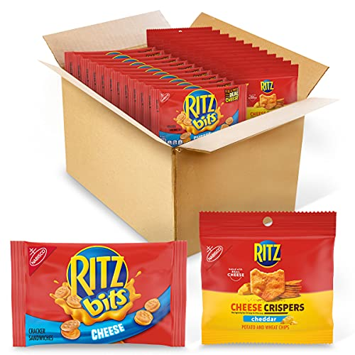 RITZ Bits Cheese Crackers & RITZ Cheese Crispers Cheddar Chips Variety Pack, 48 Snack Packs