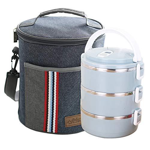 Gresunny lunchbox edelstahl stapelbar isolierte brotdose mit 3 unterteilungen auslaufsicher brotzeitbox mit isoliertem tasche tragbare thermo bento-box für schule arbeit 2.1L