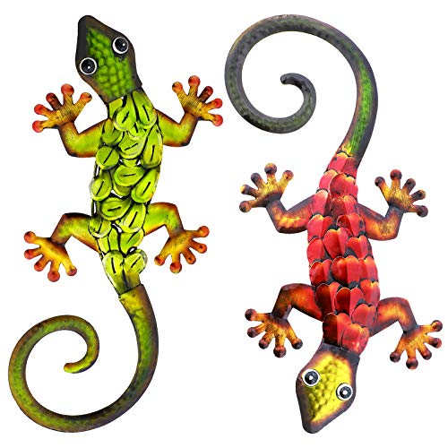 aboxoo Metal Gecko Set Wall Decor -Large Lizard Garden Art Sculpture Crafts Statue Hanging Decoration Ornaments for room/Yard/ Fence /Garden/ Children'S Toy/ Gift (Red, Green)
