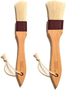Pastry Brush Natural Bristle Wooden, MSART Basting/Food Brush, with Beech Wood Handle and Rope Hook, Great for Butter, Cookies, Oil, Bread, Frosting. Easy to Clean (1 inch & 1.5 inch set)