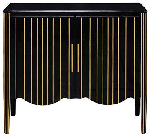 Casa Padrino aparador Art Decó de Lujo Negro/Oro 100 x 50 x A. 90 cm - Armario Noble de Madera Maciza con 2 Puertas - Muebles de Salón Art Deco