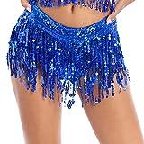 YOOJOO Women's Sequins Tassel Skirts Booty Shorts Dance Belly Dance Festival Rave Party Bottoms Royal_Blue S