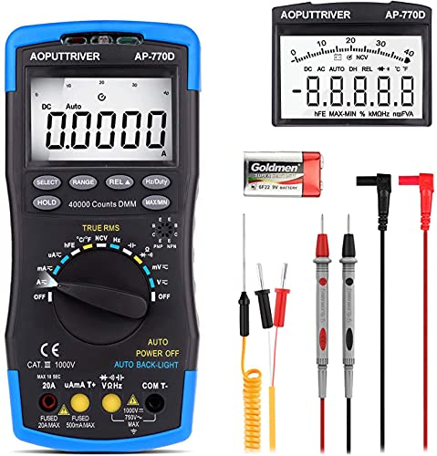 Digital Multimeter Autoranging HP-770D TRMS 40000Counts Multimeter Tester Voltmeter Ammeter with High Precision for NCV AC/DC Voltage Current Resistance Capacitance Frequency Diodes hFE Temperature