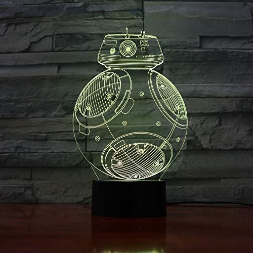Película creativa robot lámpara de escritorio 3D acrílico LED luz nocturna multicolor USB luz decorativa regalo