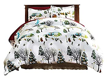 Bits and Pieces - Christmas Village King Duvet Bedding Set - Soft Microfiber Reversible Comforter Cover Christmas Printed Pattern Easy-Care with Matching Standard Shams