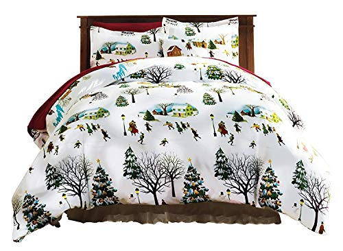 Bits and Pieces - Christmas Village King Duvet Bedding Set - Soft...