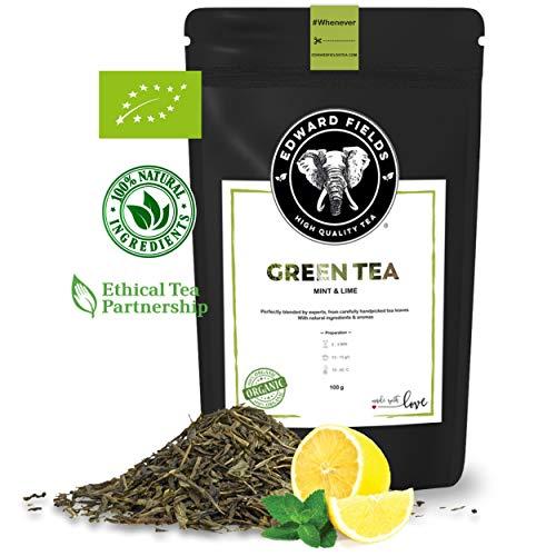 Edward Fields - Té Verde Orgánico a Granel con Menta y Limón, 100 Gramos. Ingredientes y aromas naturales. Origen: China. Detox, antioxidante, adelgazante