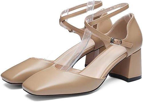 WYYY WYYY Chaussures Sandales Nouvelle Mode Estivale pour Femmes épaisse avec des Chaussures à Talons Hauts avec des Chaussures pour Les Les dames Une Boucle Sandales (Couleur   B, Taille   EU 37 UK 4.5-5 CN37)  le style classique