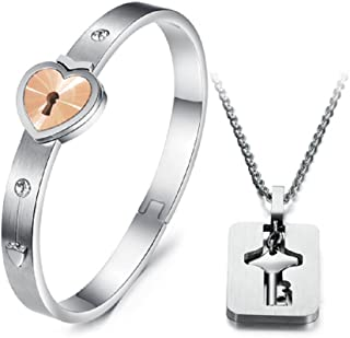 His and Hers Korean Style Titanium Hold the Key to My Heart Forever Bangle Bracelet and Pendant Necklace-BR398