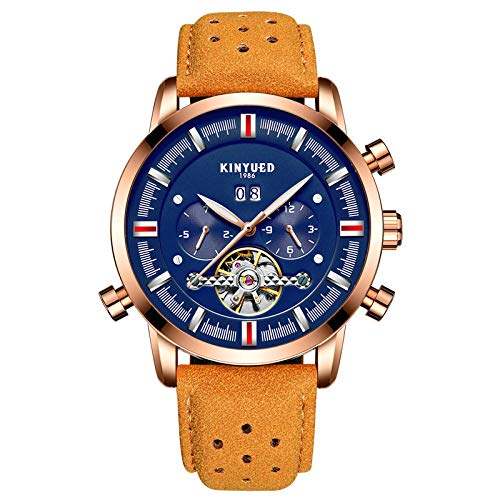Find Discount Strong Durable KINYUED KINYUED Blue Calendar Automatic Mechanical Watches Mens Busines...