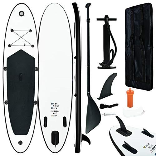 Tidyard Juego de Tabla de Paddle Surf Hinchable Hinchable de Paddle Surf Tabla de Surf HinchableBlanco y Negro