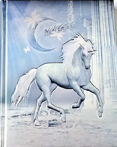 """Cuaderno / Diario Unicornio con letras """"Magic"""", color azul metálico y plata, en relieve noble - ¡Edición limitada!"""