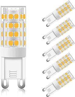 Bombilla G9 LED 5W Calido 3000K, 500LM, Equivalente a Halógena G9 40W 50W, Luz de 360°, AC 230V, No Regulable, Bombillas LED G9 Calida para Lámpara de Pared, Lámparas de Mesa, pack de 6