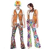 LISI Disfraz de Indígena Hippie años 70 para Parejas Paz y Amor Chaleco Pantalones Juego de 6 Piezas - Vistoso