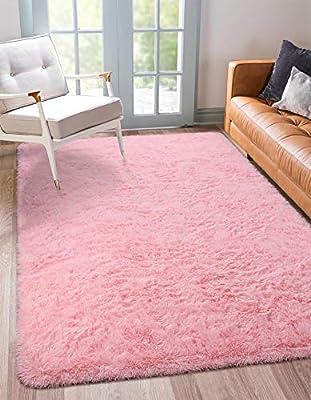 BENRON Soft Pink Fluffy Area Rugs for Bedroom Kids Room Shag Furry Fur Rug for Living Room Boys Girls Modern Plush Nursery Rugs Solid Accent Floor Carpet, 5x8 Feet
