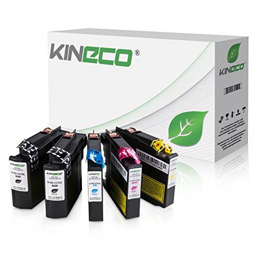 Kineco 5 Tintenpatronen kompatibel für Brother LC-223 LC223 XXL LC-225 LC-227 für Brother MFC-J5320DW, MFC-J5620DW, MFC-J4420DW, MFC-J4620DW, DCP-J4120DW - Schwarz je 20ml, Color je 13ml