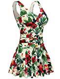 AONTUS Plus Size Skirtini Swimsuits for Women Tummy Control One Piece Hawaiin Swim Dresses Bathing Suit L
